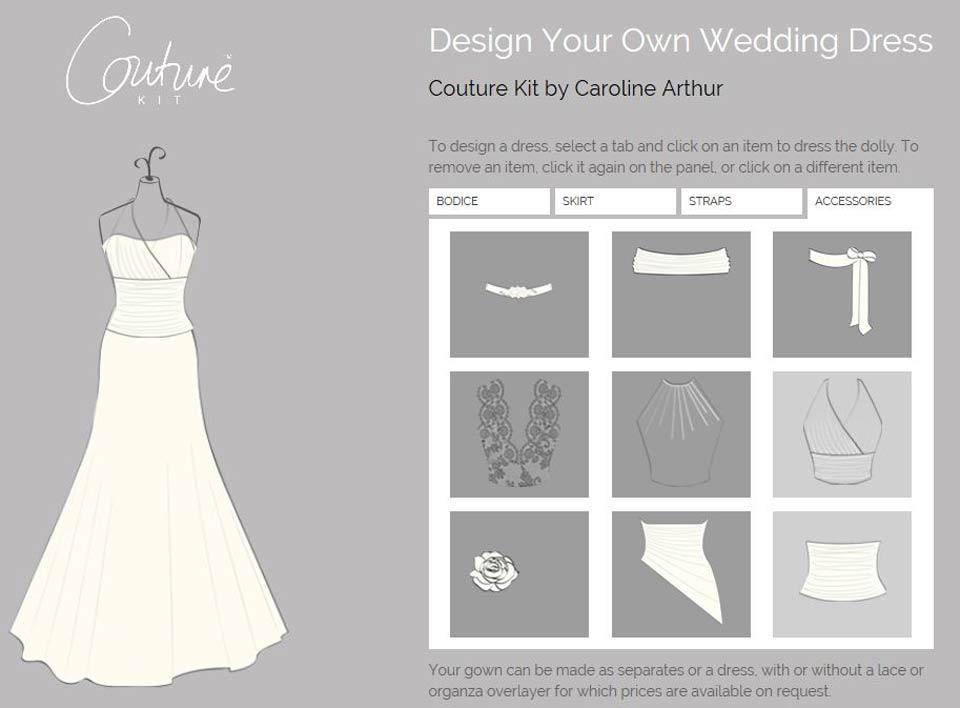 bespoke weddign dress designer caroline arthur couture kit