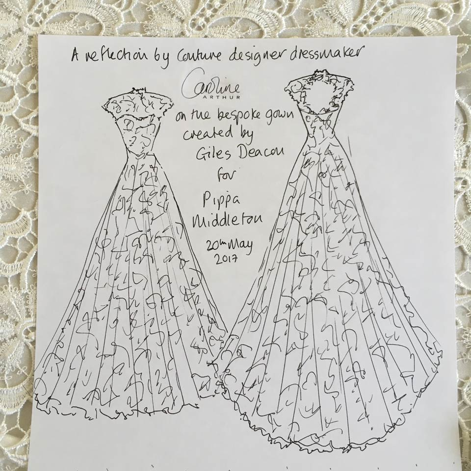 Couture designer Caroline Arthur's reflection on the bespoke wedding dress created by Giles Deacon for Pippa Middleton